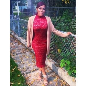 Hot Miami Styles Long Lace Burgundy Evening Dress